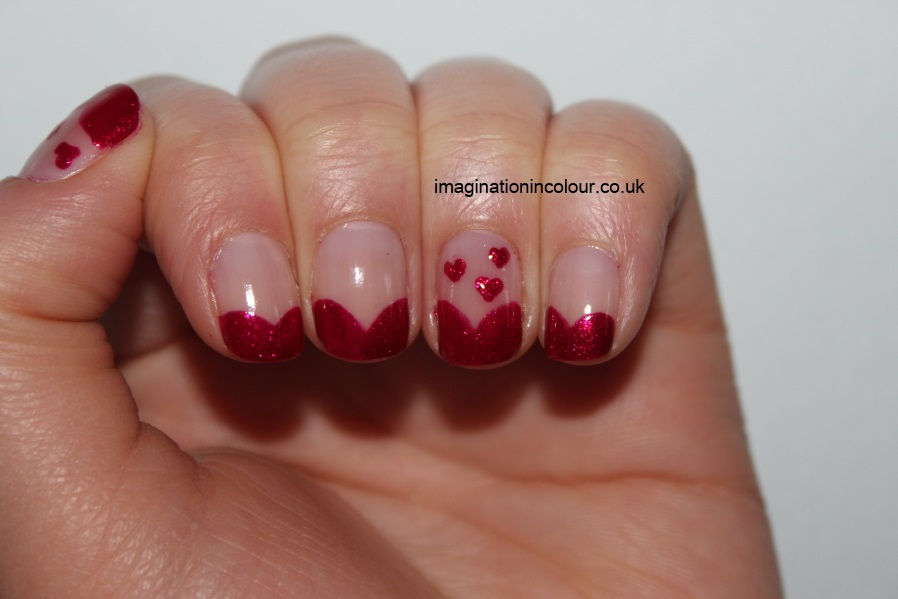 Valentines Day Nail Art heart hearts pink red french tips OPI You Only Live Twice cranberry love easy design short nails