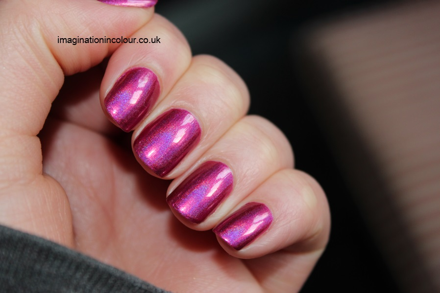 China Glaze Infra Red infrared pink fuchsia holographic hologlam nail polish collection qt blue duochrome 2013 review uk blog swatches swatch