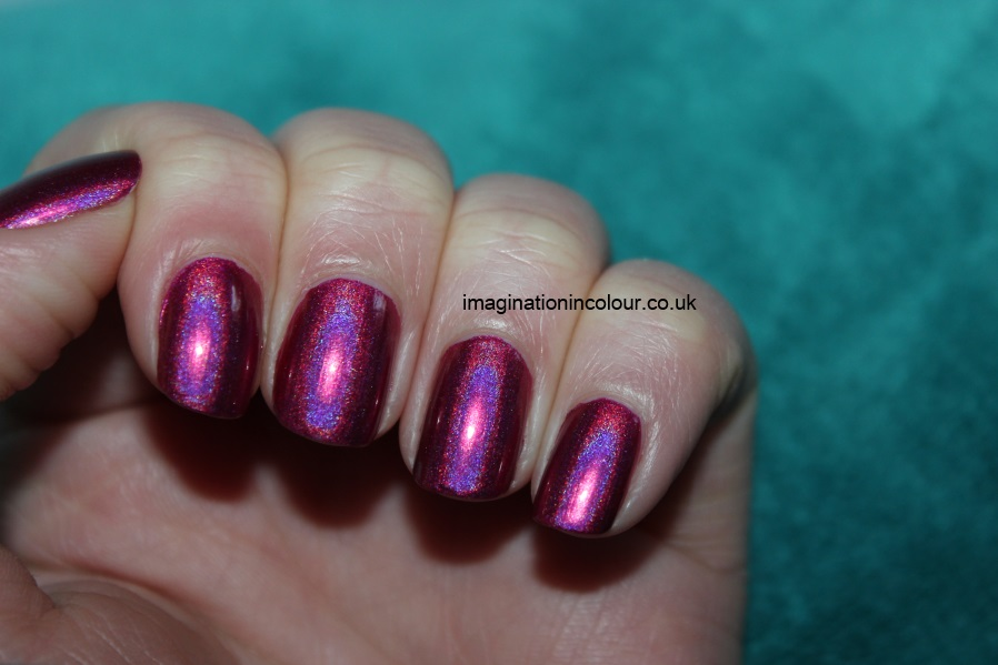 China Glaze Infra Red infrared pink fuchsia holographic hologlam nail polish collection qt blue duochrome 2013 review uk blog swatches swatch (8)