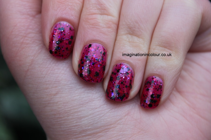 Happy Hands Metal Heart Indie brand nail polish US pink raspberry jelly black glitter iridescent blue purple square red