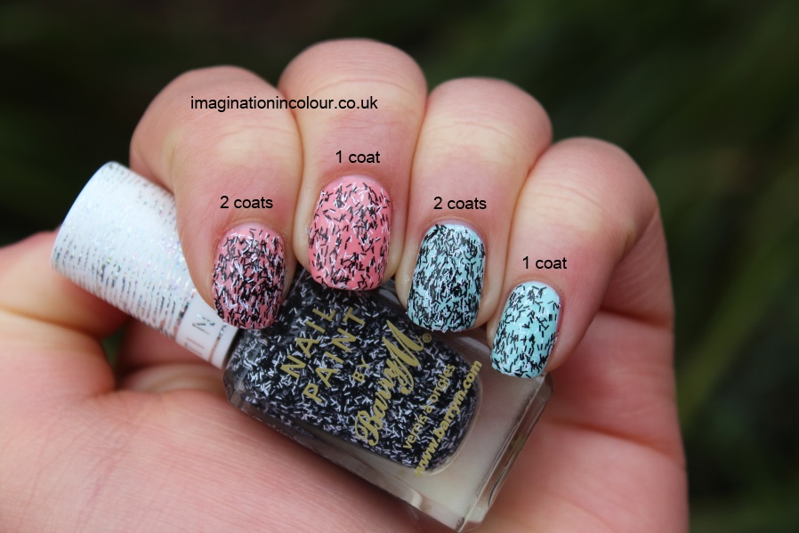 Barry M Liquorice Confetti black and white bar glitter nails inc feathers dupe l'oreal glitter topcoat review uk nail polish blog swatch swatches peach duck egg (2)