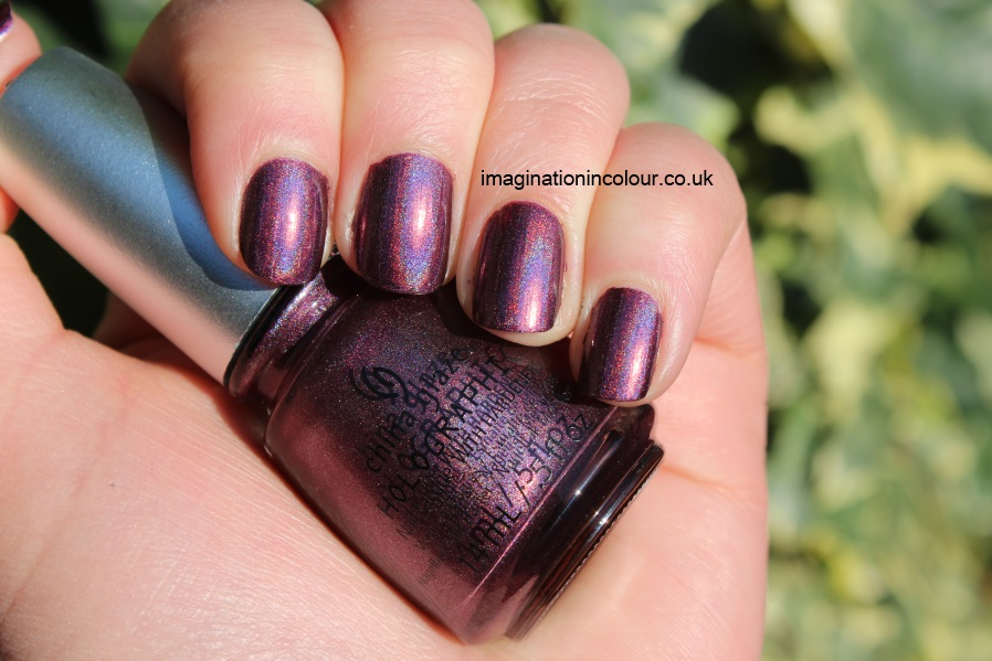 China Glaze When Stars Collide Hologlam holographic mauve maroon purple dark purple linear holo swatch swatches review uk nail polish blog