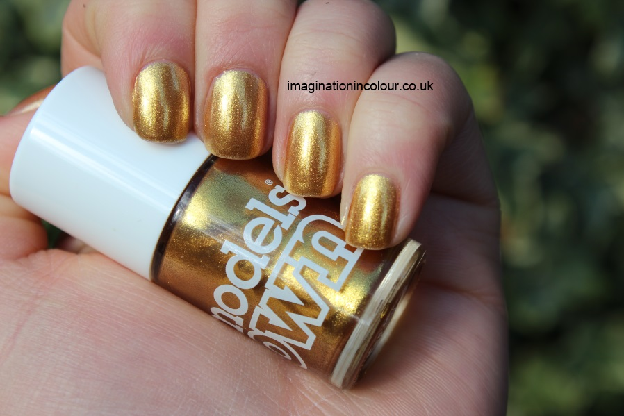 Models Own Gold Rush yellow gold shimmer bright goldeneye opi dupe nail polish review swatch swatches uk blog