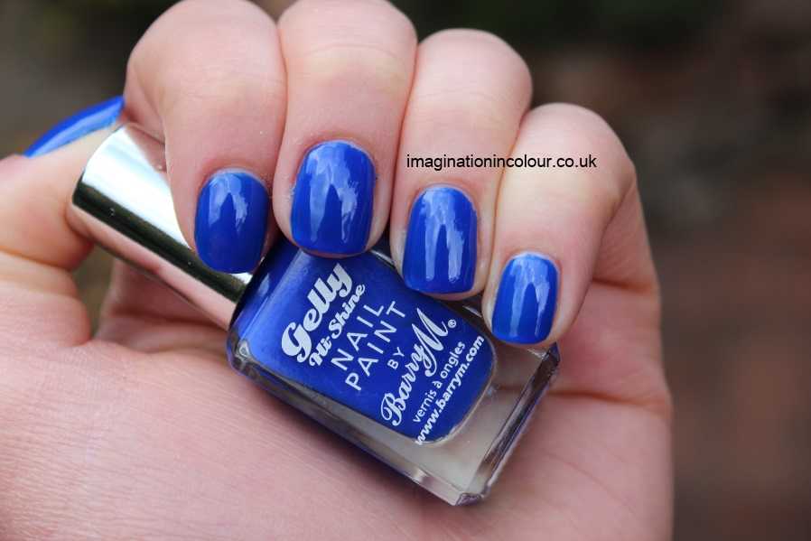 Barry M Blue Grape Gelly nail paint bright cobalt blue jelly nails inc baker street dupe polish review swatch swatches uk blog