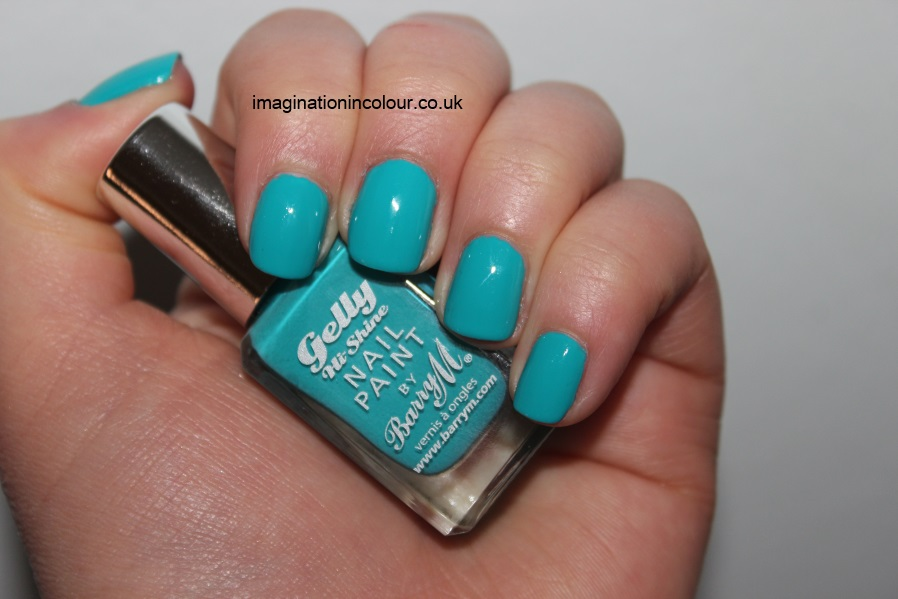 Barry M Guava Gelly nail paint polish bright teal turquoise green blue creme polish sea foam sky summer hi shine swatches swatch review uk blog
