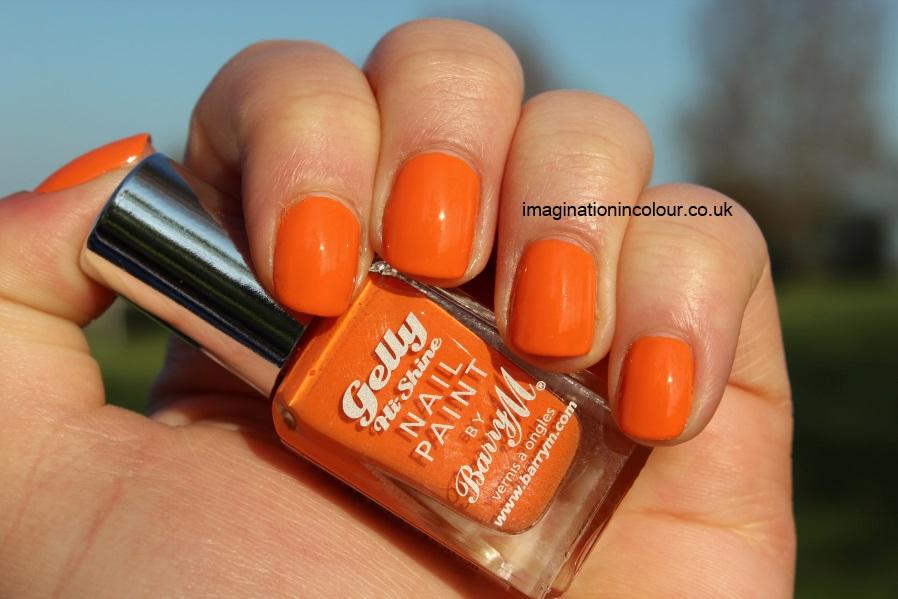 Barry M Mango Gelly Nail Paint hi shine orange yellow toned creme opaque orange nail polish pumpkin swatch swatches uk blog review