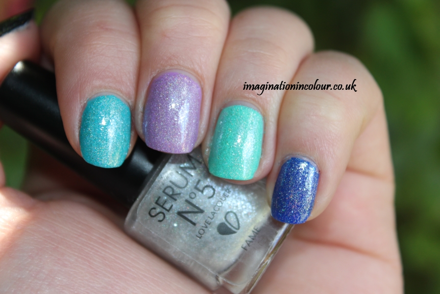 Serum No5 Fame Love Lacquer holo holographic topcoat indie nail polish the nail arcade UK reseller layered over colours review swatch swatches blog