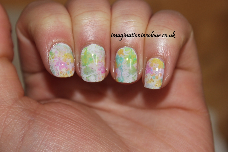 YRNails yrnails.com beautiful nail decals designs wraps skulls watercolour dots uk blog review water applied colour splatter 1 design multicoloured pastel