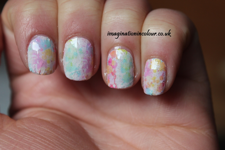 YRNails yrnails.com beautiful nail decals designs wraps skulls watercolour dots uk blog review water applied colour splatter light design multicoloured pastel