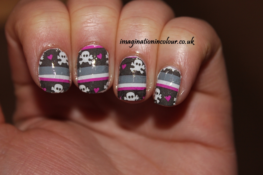 YRNails yrnails.com beautiful nail decals designs wraps skulls watercolour dots uk blog review water applied skull & stripes design black pink grey white
