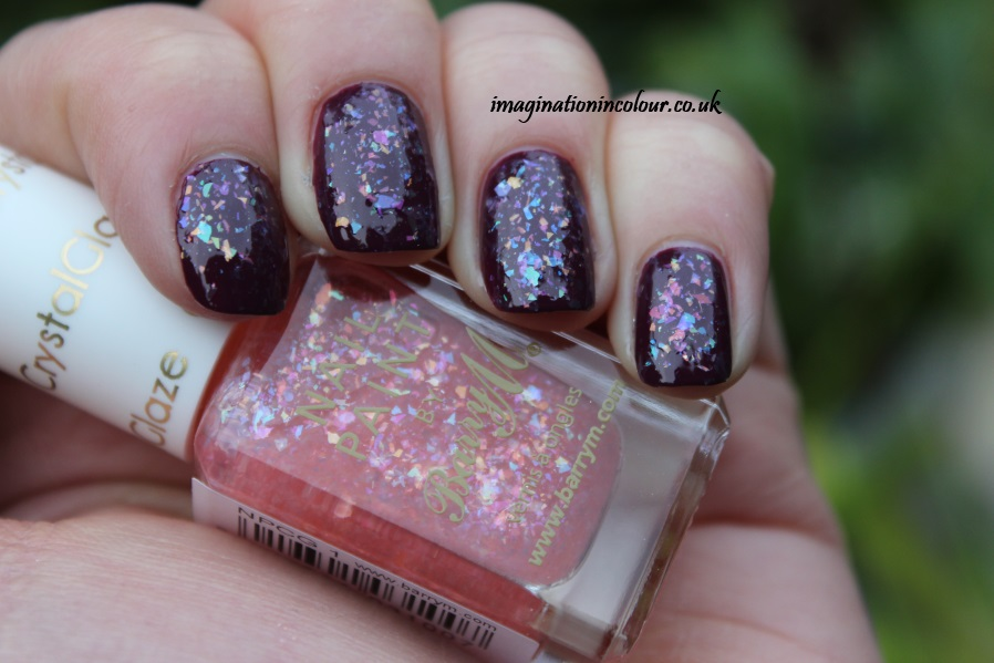 Barry M Crystal Glaze Flakie shards topper topcoat glitter multicoloured green blue purple pink orange yellow berry cosmo nail polish paint uk blog review swatch swatches