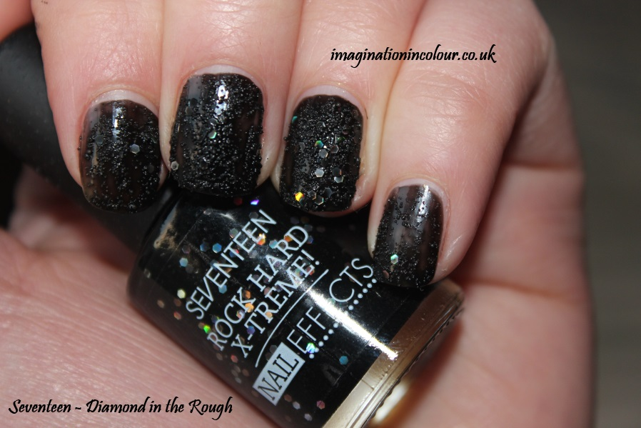 Seventeen Diamond in the Rough Rock Hard X-Treme Nail Effects polish essie belugaria dupe barry m sequin black holographic glitter nails inc beaded uk blog review swatches