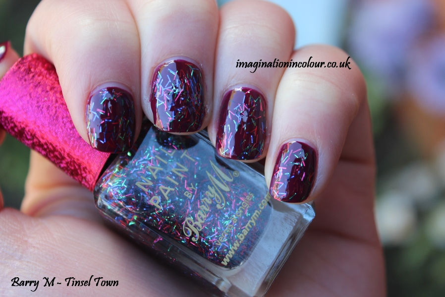 Barry M Tinsel Town Limited edition boots exclusive christmas nail polish festive bar glitter red blue green topper topcoat winter autumn 2013 swatch swatches blog review uk