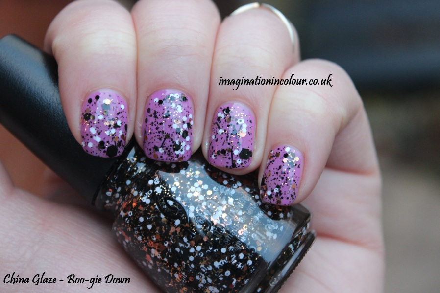 China Glaze Boo-gie down boogie halloween monster monsters ball collection 2013 copper white black glitter bar topper over purple uk nail polish blog review swatch swatches