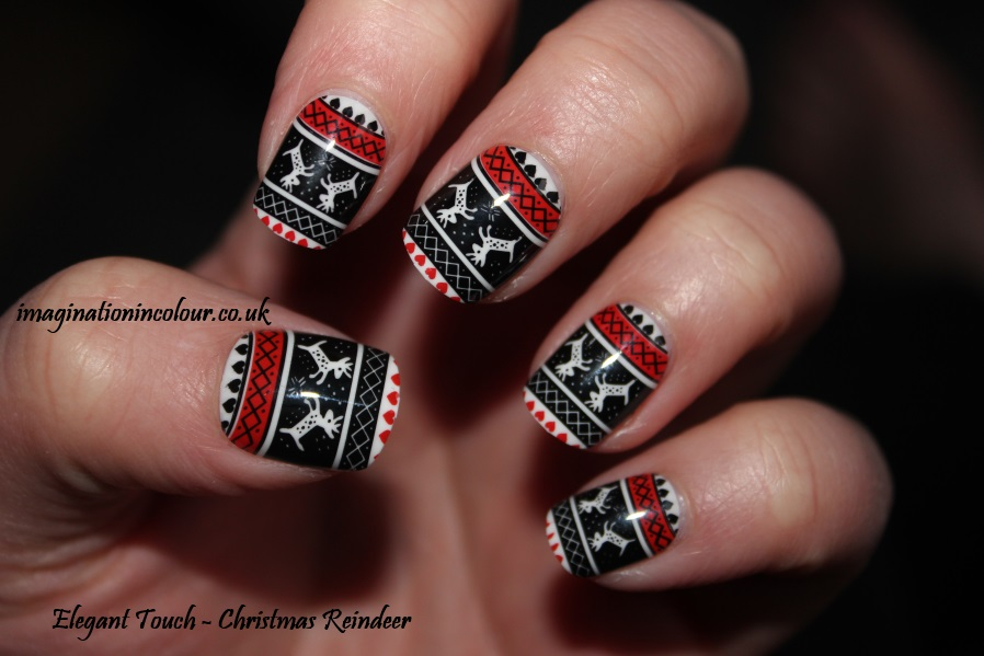 Elegant Touch Christmas Reindeer false nails uv gel technology short festive nail art deer cute red jumper uk blog review