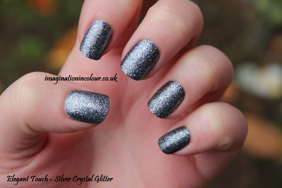 Elegant Touch Silver Crystal Glitter false nails gunmetal festive smooth sparkly party season uk nail polish blog review (2)