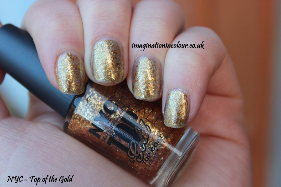 NYC Top of the Gold flakie topcoat gold leaf topper glitter christmas christmassy nail polish effect mylar blog uk review swatch swatches
