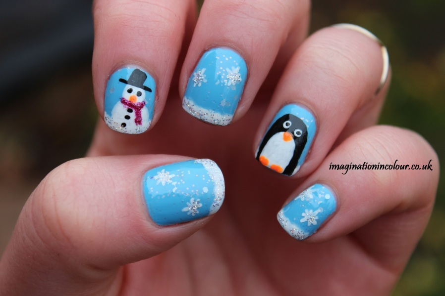 Penguin Snowman snow nail art christmas nail polish snowflake holo glitter barry m nail art pens snow effect cute christmassy festive simple easy short nails uk blog