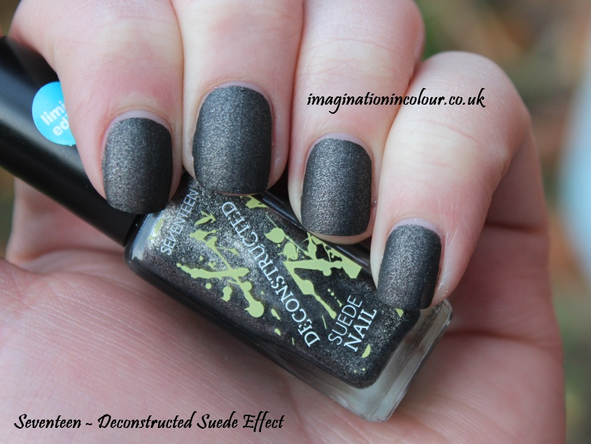 Seventeen Deconstructed Suede Effect Nail polish matte satin brown grey shimmer gold dark rock shabby chic grunge blog review uk swatch swatches