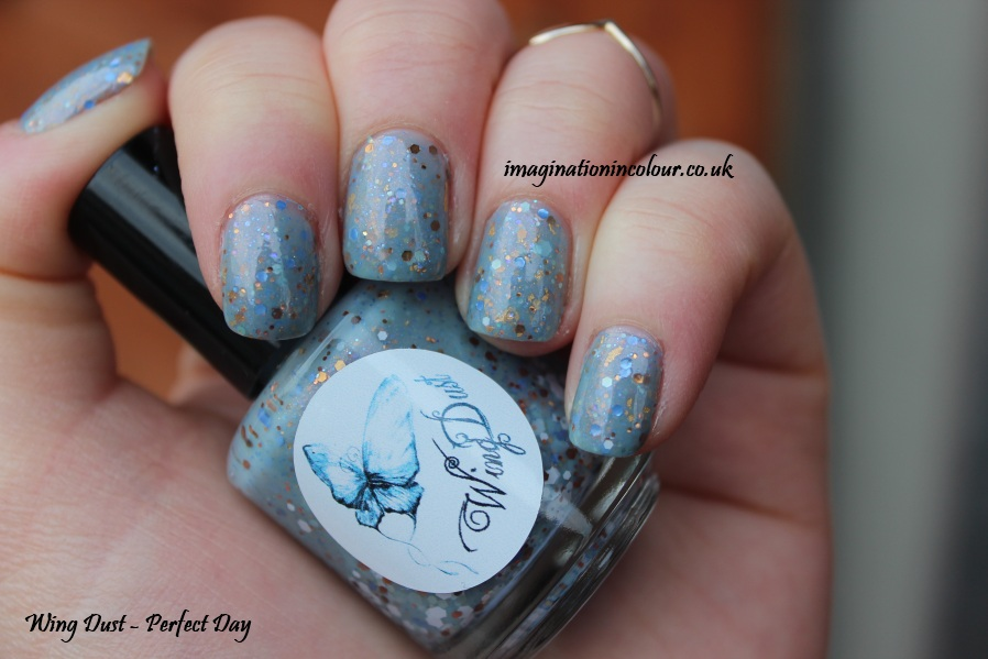 Wing Dust Perfect Day glitter nail polish indie independent handmade pastel baby blue pink shimmer gold leaf creme uk blog review swatch swatches