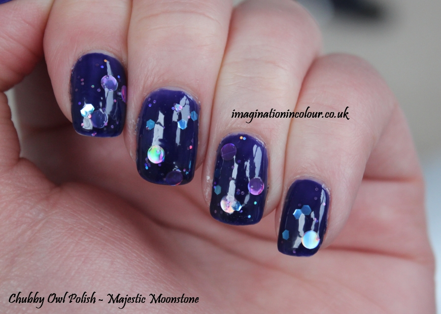 Chubby Owl Polish Majestic Moonstone UK indie nail polish jelly indigo inky blue purple circle glitter holo pink turquoise lilac handmade jelly sandwich blog review swatch swatches