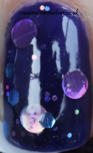 Chubby Owl Polish Majestic Moonstone UK indie nail polish jelly indigo inky blue purple circle glitter holo pink turquoise lilac handmade jelly sandwich blog review swatch swatches close up macro shot