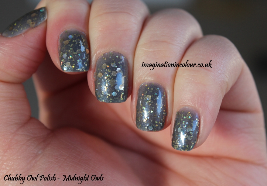 Chubby Owl Polish Midnight Owls UK Indie Nail Polish handmade silver grey jelly gold glitter holographic circle review swatch swatches blog