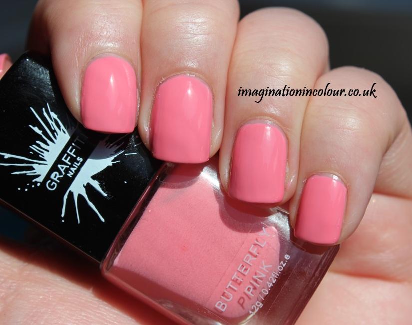 Graffiti Nails Butterfly Pink